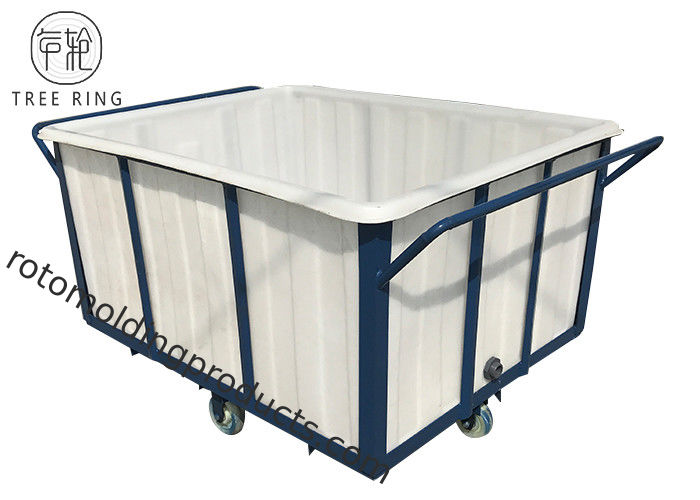 K700Kg Rotomolding Poly Box Truck , Flat Sided Bulk Heavy Duty Laundry Cart On Wheels